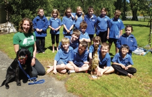 Bittern lesson: Emma Williams and Gill Lundie visited Kahutara School in the Wairarapa where Emma talked with the children who were keen to hear about bitterns, and also to learn more about why there was a dog involved.