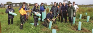 Volunteers: Members of the planting team including Taratahi equine students.