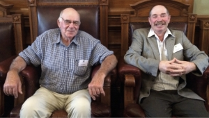 Pretty pleased: Looking like cats who got the cream, Jim Campbell and Ross Cottle. It was said Mr Campbell had a relative (an uncle) who was once on the old Wellington Harbour Board. Mr Campbell decided to try out his uncle's seat!