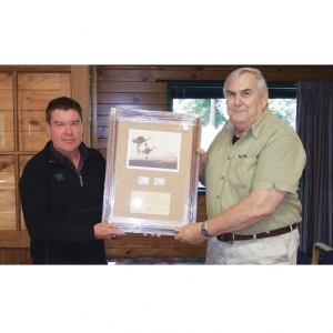 In July 2015, Andy Garrick CEO of Eastern Fish & Game (left) and DU life Member Ian Pirani was recognised for his long involvement with F&G. The inscription reads: In recognition for your long term dedication and commitment to the conservation and management of New Zealand's water fowl and their wetland habitats.
