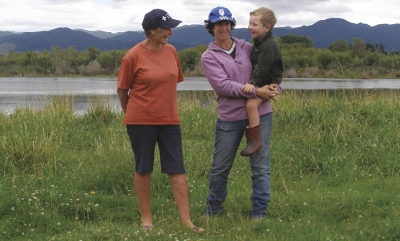 Wetland protection: Jane Donald and daughter Paula Gillett and her son, on the Wairarapa family property