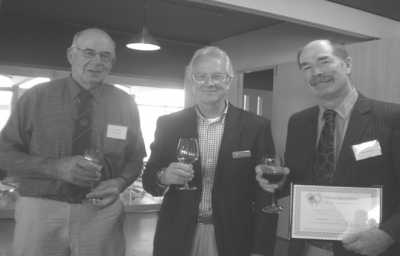 L to R: Jim Campbell, Patron and past president, Gus van de Roer, Nikau  Foundation trustee, and Ross Cottle President accepting grant for Wairio Wetlands from  Nikau Foundation.